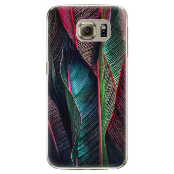 Plastové pouzdro iSaprio - Black Leaves - Samsung Galaxy S6