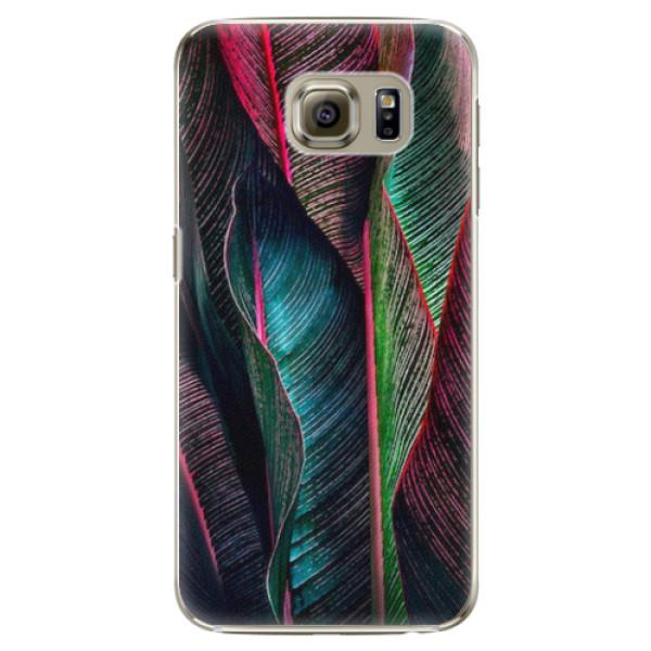 Plastové pouzdro iSaprio - Black Leaves - Samsung Galaxy S6 Edge Plus
