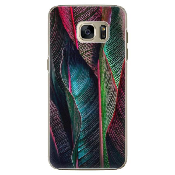 Plastové pouzdro iSaprio - Black Leaves - Samsung Galaxy S7
