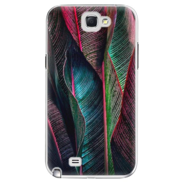 Plastové pouzdro iSaprio - Black Leaves - Samsung Galaxy Note 2