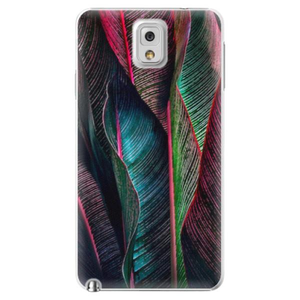Plastové pouzdro iSaprio - Black Leaves - Samsung Galaxy Note 3