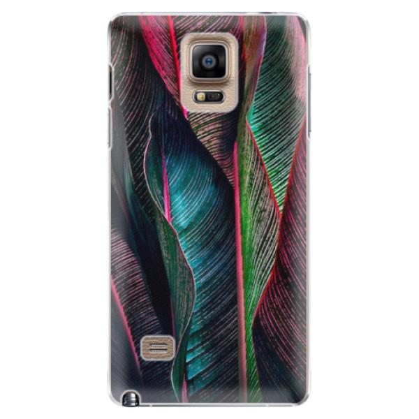 Plastové pouzdro iSaprio - Black Leaves - Samsung Galaxy Note 4