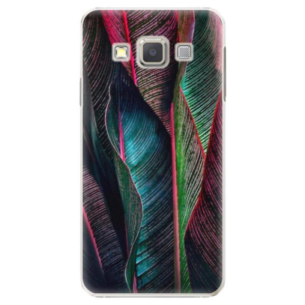 Plastové pouzdro iSaprio - Black Leaves - Samsung Galaxy A3