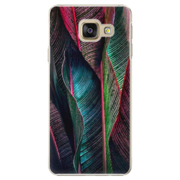 Plastové pouzdro iSaprio - Black Leaves - Samsung Galaxy A3 2016