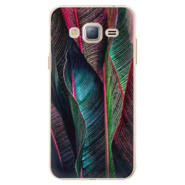 Plastové pouzdro iSaprio - Black Leaves - Samsung Galaxy J3 2016