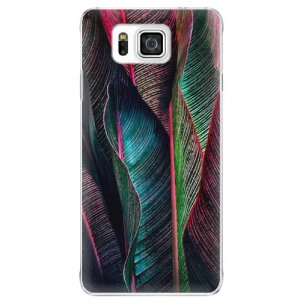 Plastové pouzdro iSaprio - Black Leaves - Samsung Galaxy Alpha