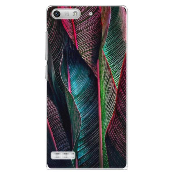 Plastové pouzdro iSaprio - Black Leaves - Huawei Ascend G6
