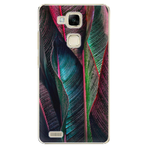Plastové pouzdro iSaprio - Black Leaves - Huawei Mate7