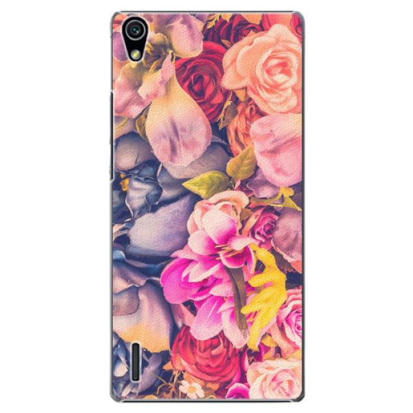 Plastové pouzdro iSaprio - Beauty Flowers - Huawei Ascend P7