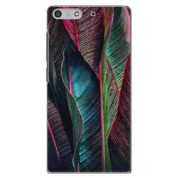 Plastové pouzdro iSaprio - Black Leaves - Huawei Ascend P7 Mini