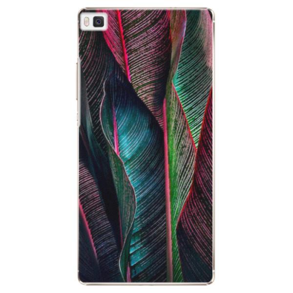 Plastové pouzdro iSaprio - Black Leaves - Huawei Ascend P8