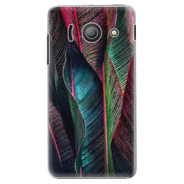 Plastové pouzdro iSaprio - Black Leaves - Huawei Ascend Y300
