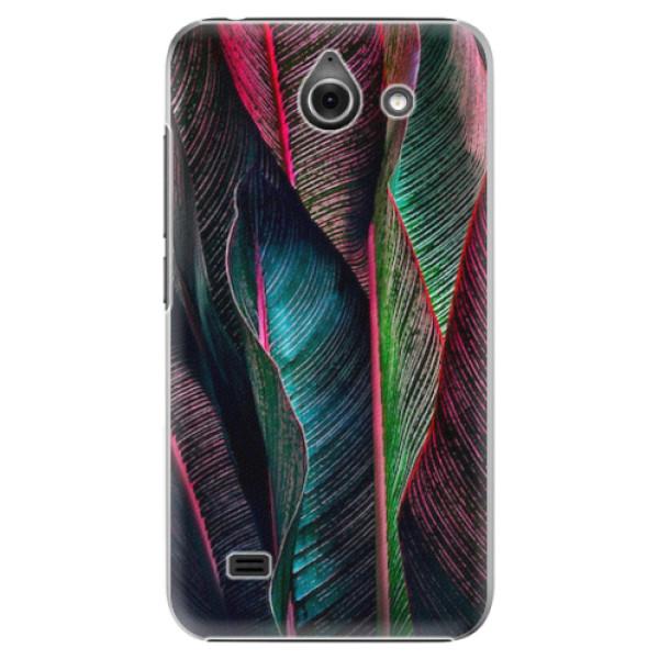 Plastové pouzdro iSaprio - Black Leaves - Huawei Ascend Y550