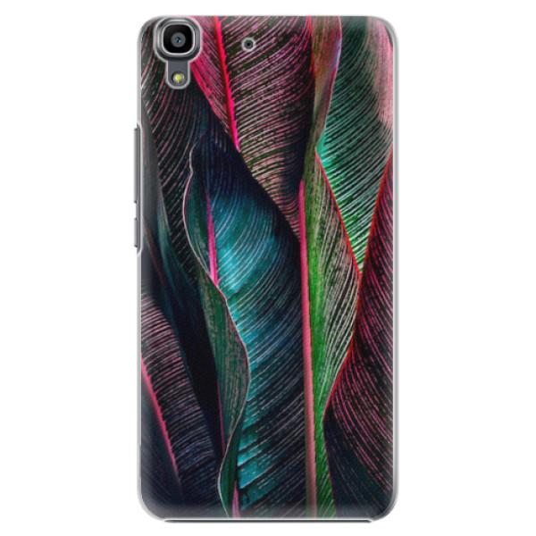 Plastové pouzdro iSaprio - Black Leaves - Huawei Ascend Y6