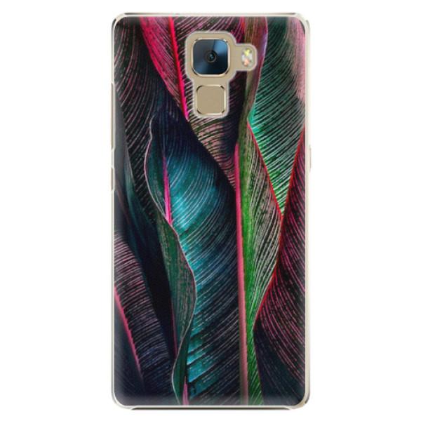 Plastové pouzdro iSaprio - Black Leaves - Huawei Honor 7