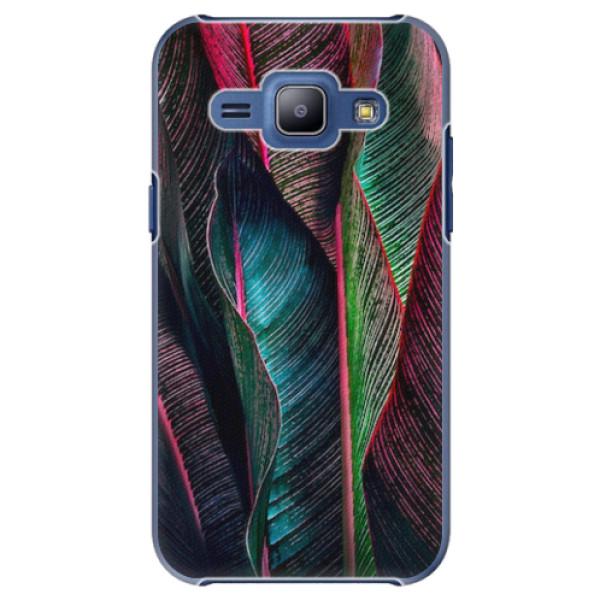 Plastové pouzdro iSaprio - Black Leaves - Samsung Galaxy J1
