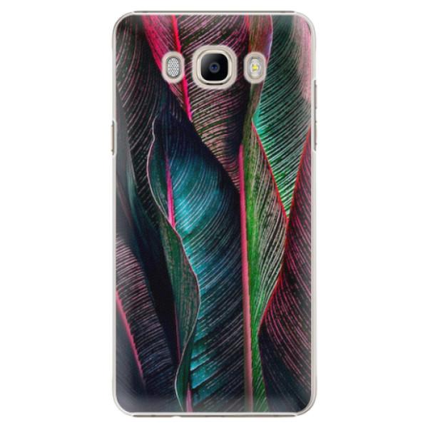 Plastové pouzdro iSaprio - Black Leaves - Samsung Galaxy J7 2016