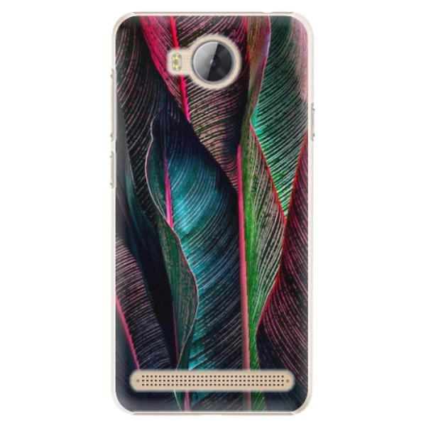 Plastové pouzdro iSaprio - Black Leaves - Huawei Y3 II