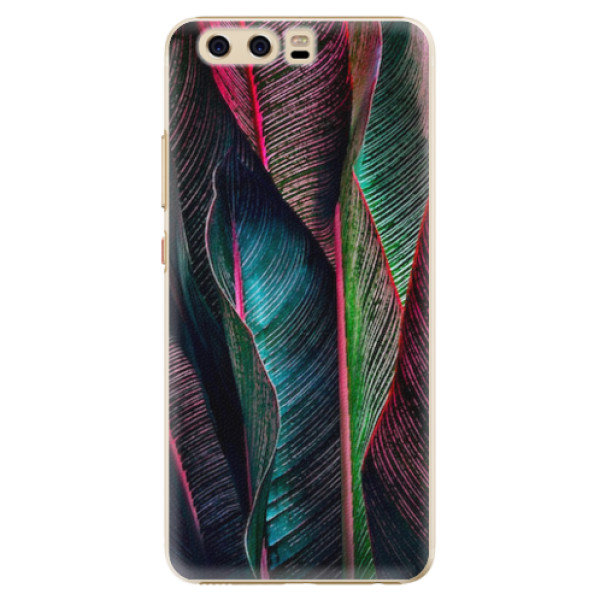 Plastové pouzdro iSaprio - Black Leaves - Huawei P10