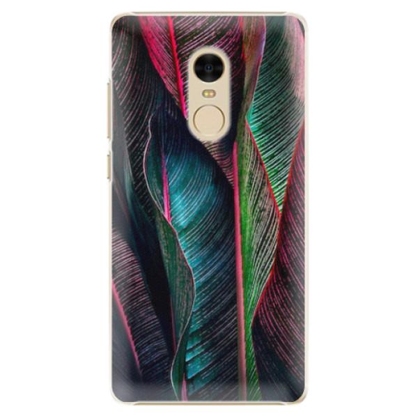 Plastové pouzdro iSaprio - Black Leaves - Xiaomi Redmi Note 4