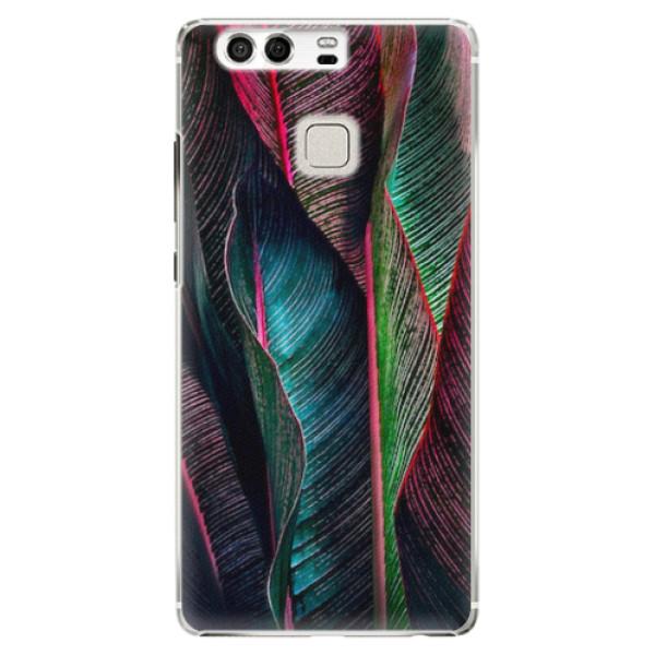 Plastové pouzdro iSaprio - Black Leaves - Huawei P9