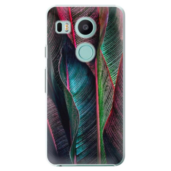 Plastové pouzdro iSaprio - Black Leaves - LG Nexus 5X