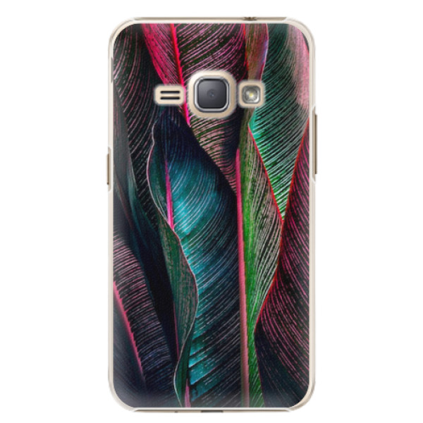 Plastové pouzdro iSaprio - Black Leaves - Samsung Galaxy J1 2016