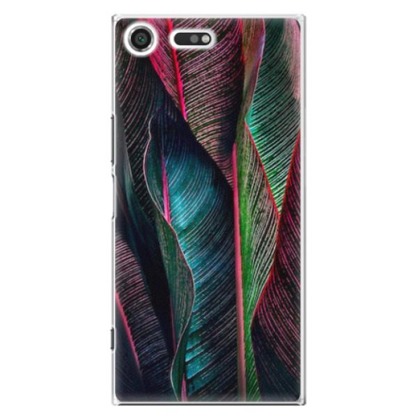 Plastové pouzdro iSaprio - Black Leaves - Sony Xperia XZ Premium