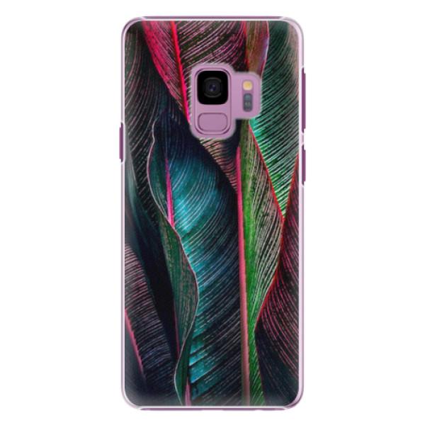 Plastové pouzdro iSaprio - Black Leaves - Samsung Galaxy S9