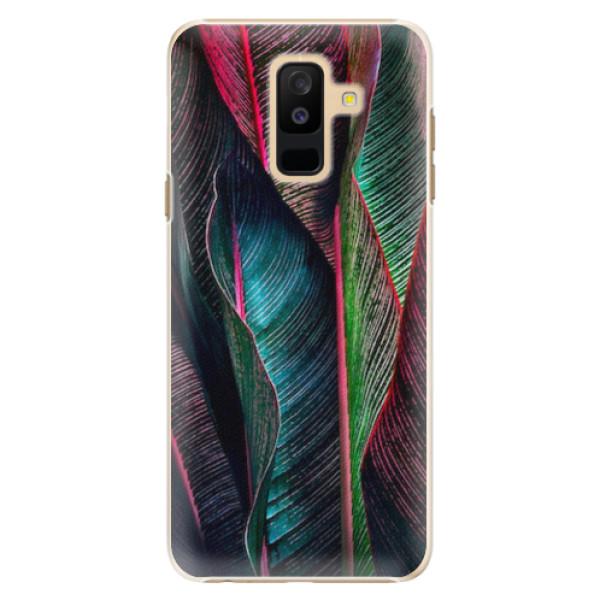 Plastové pouzdro iSaprio - Black Leaves - Samsung Galaxy A6+