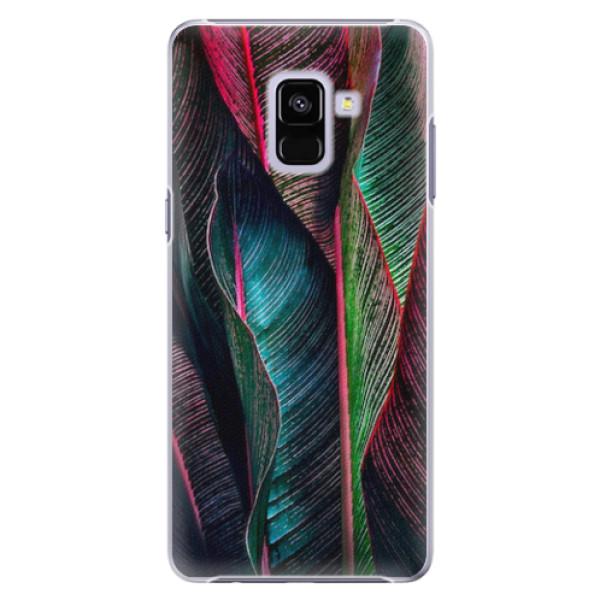 Plastové pouzdro iSaprio - Black Leaves - Samsung Galaxy A8+
