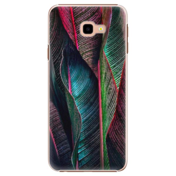 Plastové pouzdro iSaprio - Black Leaves - Samsung Galaxy J4+