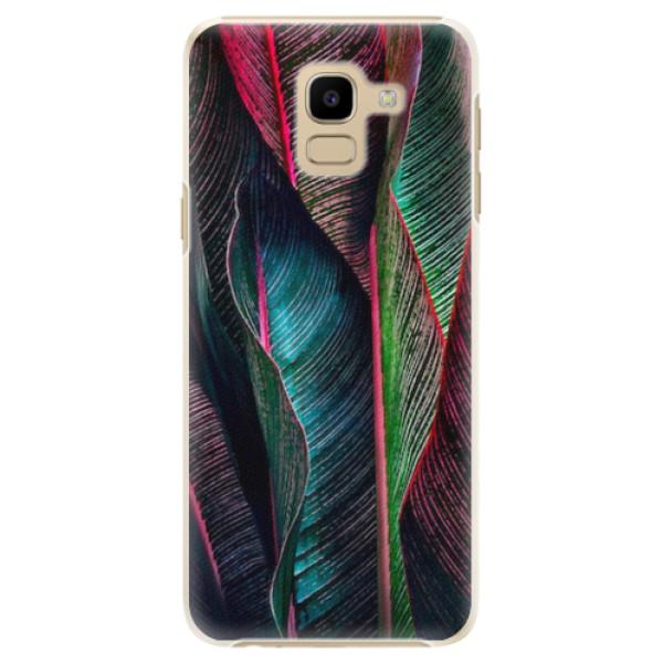 Plastové pouzdro iSaprio - Black Leaves - Samsung Galaxy J6