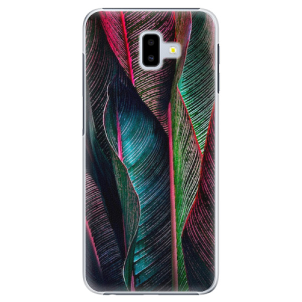 Plastové pouzdro iSaprio - Black Leaves - Samsung Galaxy J6+