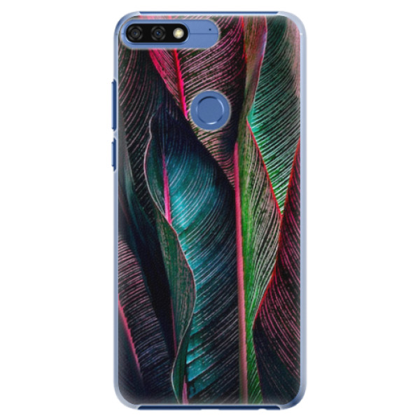 Plastové pouzdro iSaprio - Black Leaves - Huawei Honor 7C
