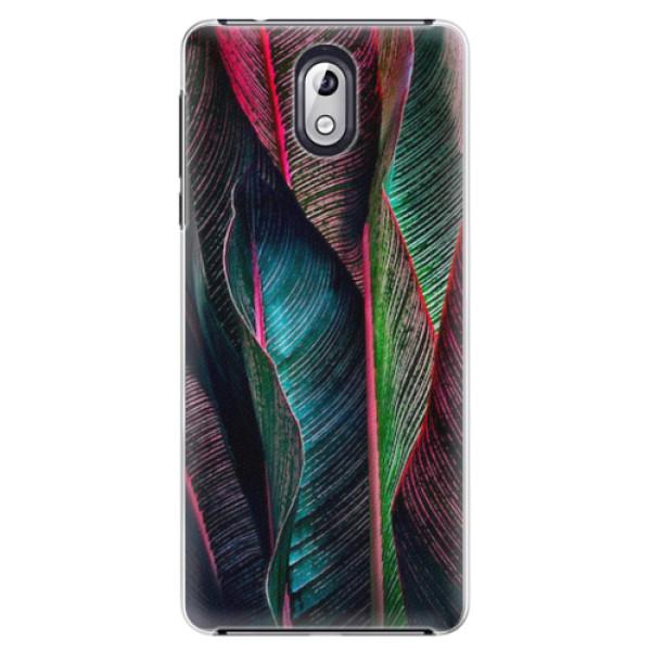 Plastové pouzdro iSaprio - Black Leaves - Nokia 3.1