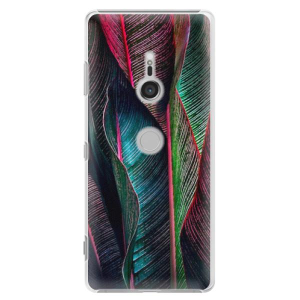 Plastové pouzdro iSaprio - Black Leaves - Sony Xperia XZ3