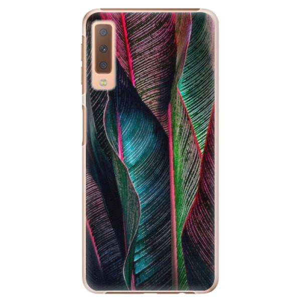 Plastové pouzdro iSaprio - Black Leaves - Samsung Galaxy A7 (2018)