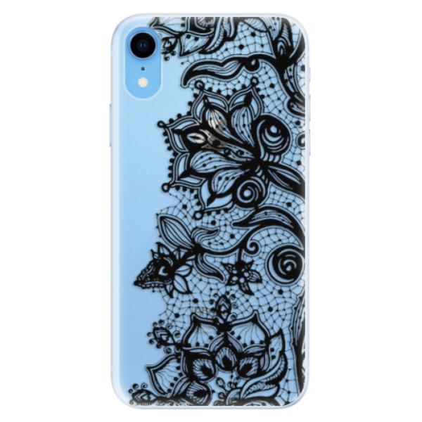 Silikonové pouzdro iSaprio - Black Lace - iPhone XR