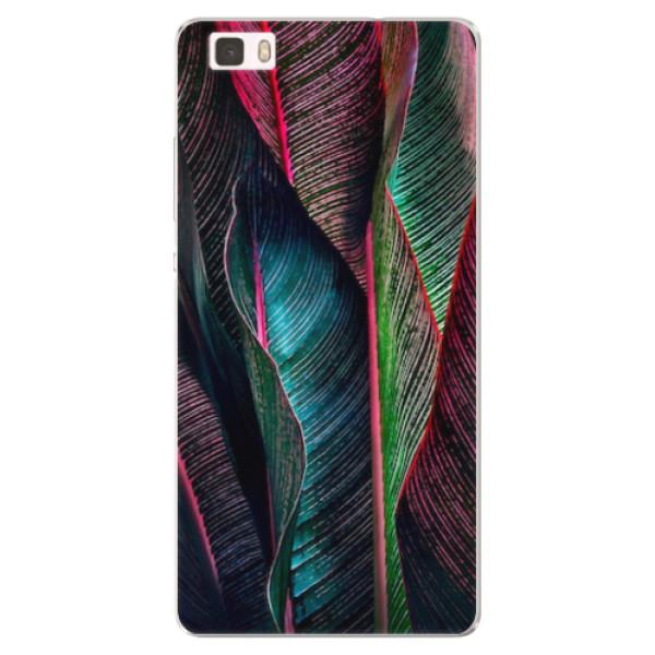 Silikonové pouzdro iSaprio - Black Leaves - Huawei Ascend P8 Lite