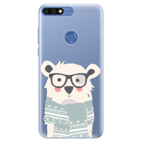 Silikonové pouzdro iSaprio - Bear with Scarf - Huawei Honor 7C