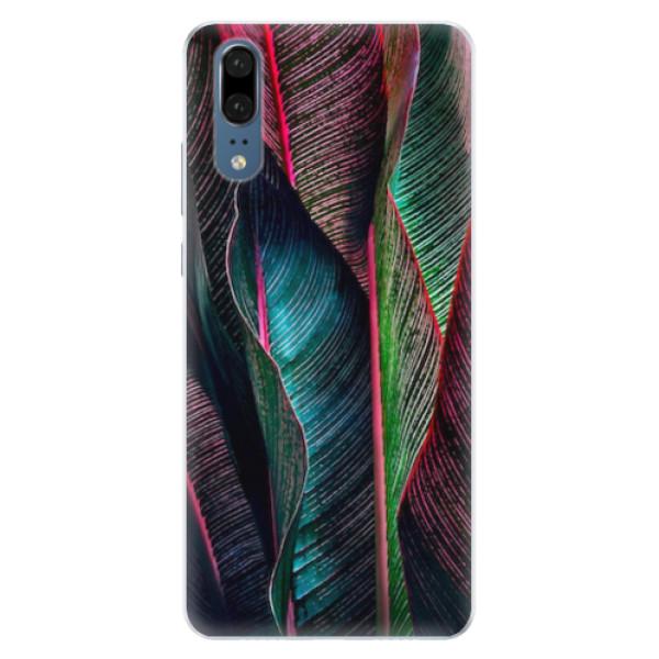 Silikonové pouzdro iSaprio - Black Leaves - Huawei P20
