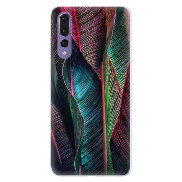 Silikonové pouzdro iSaprio - Black Leaves - Huawei P20 Pro