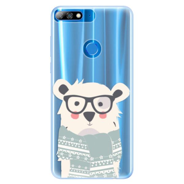 Silikonové pouzdro iSaprio - Bear with Scarf - Huawei Y7 Prime 2018
