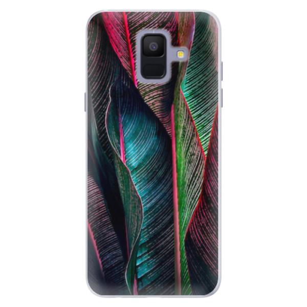 Silikonové pouzdro iSaprio - Black Leaves - Samsung Galaxy A6