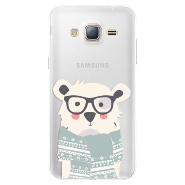 Silikonové pouzdro iSaprio - Bear with Scarf - Samsung Galaxy J3