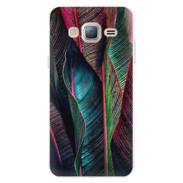 Silikonové pouzdro iSaprio - Black Leaves - Samsung Galaxy J3