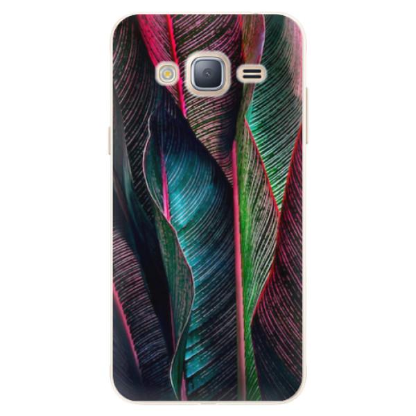 Silikonové pouzdro iSaprio - Black Leaves - Samsung Galaxy J3 2016
