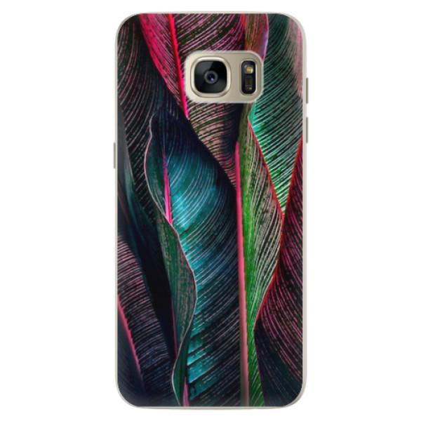 Silikonové pouzdro iSaprio - Black Leaves - Samsung Galaxy S7 Edge