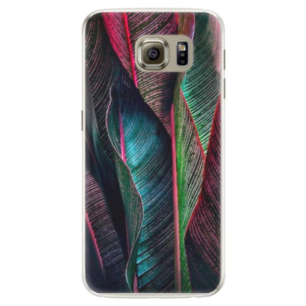 Silikonové pouzdro iSaprio - Black Leaves - Samsung Galaxy S6 Edge
